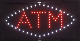 Red LED ATM sign with white diamond