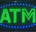 Blue Oval Double Green ATM LED Large Sign