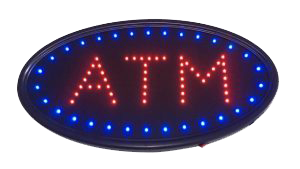 Red ATM with blue oval LED